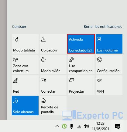 Activar Bluetooth desde la barra de tareas de windows 10 3
