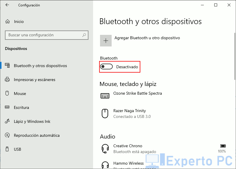 Activar Bluetooth en Windows 10 desde los ajustes de configuración 4