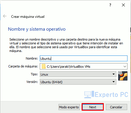 Crear nueva maquina virtualbox windows 10 1