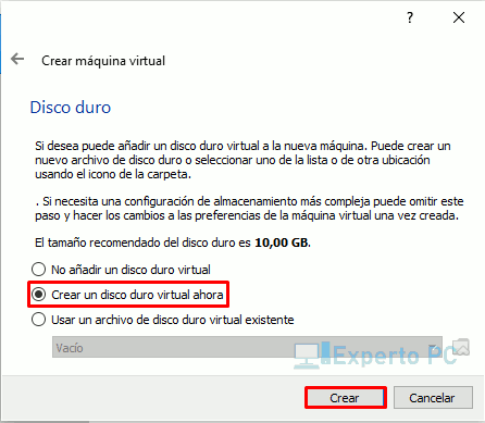Crear nueva maquina virtualbox windows 10 3