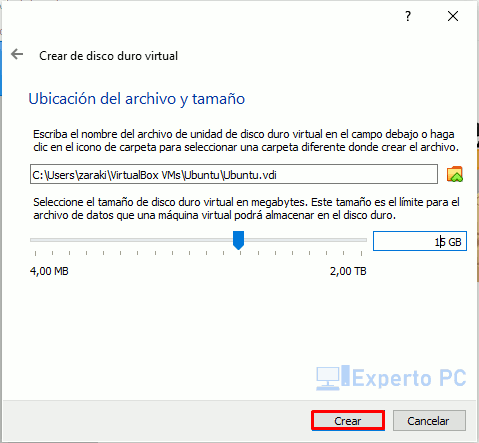 Crear nueva maquina virtualbox windows 10 6