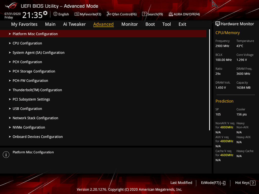asus rog strix z490 e gaming review bios 7 36