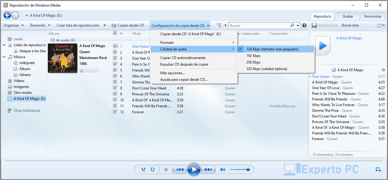 convertir cd a mp3 con windows media player 4 7