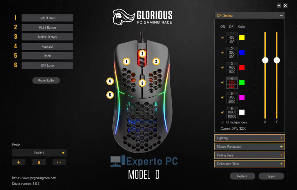 glorious model d software dpi 11