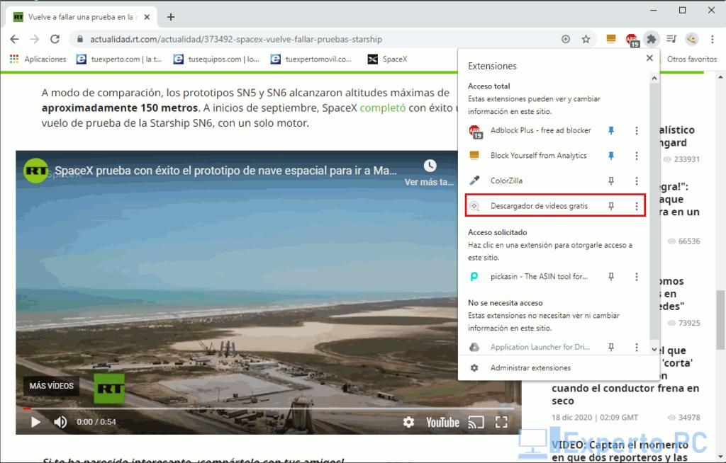 usar Free Video Downloader en Chrome 2